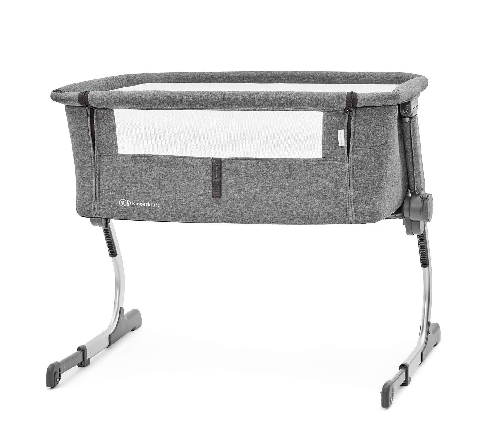kk Kinderkraft Bedside Cot UNO 2in1 Crib Travel Cot Co-Sleeping Bed Aluminum Folded Wheels Height NAD Slope Adjustable for Newborn Toddler with Accessories Bag Matttress Safety Certificate En 1130