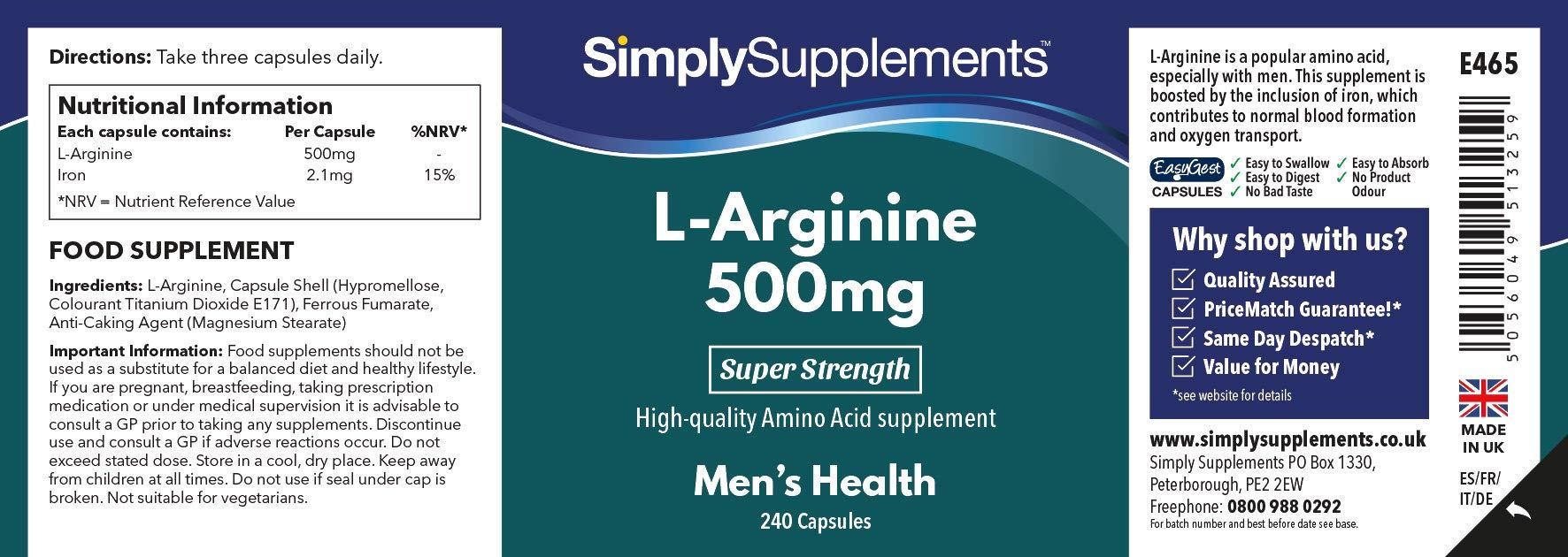 L Arginine 500mg Capsules | High Strength Supplement