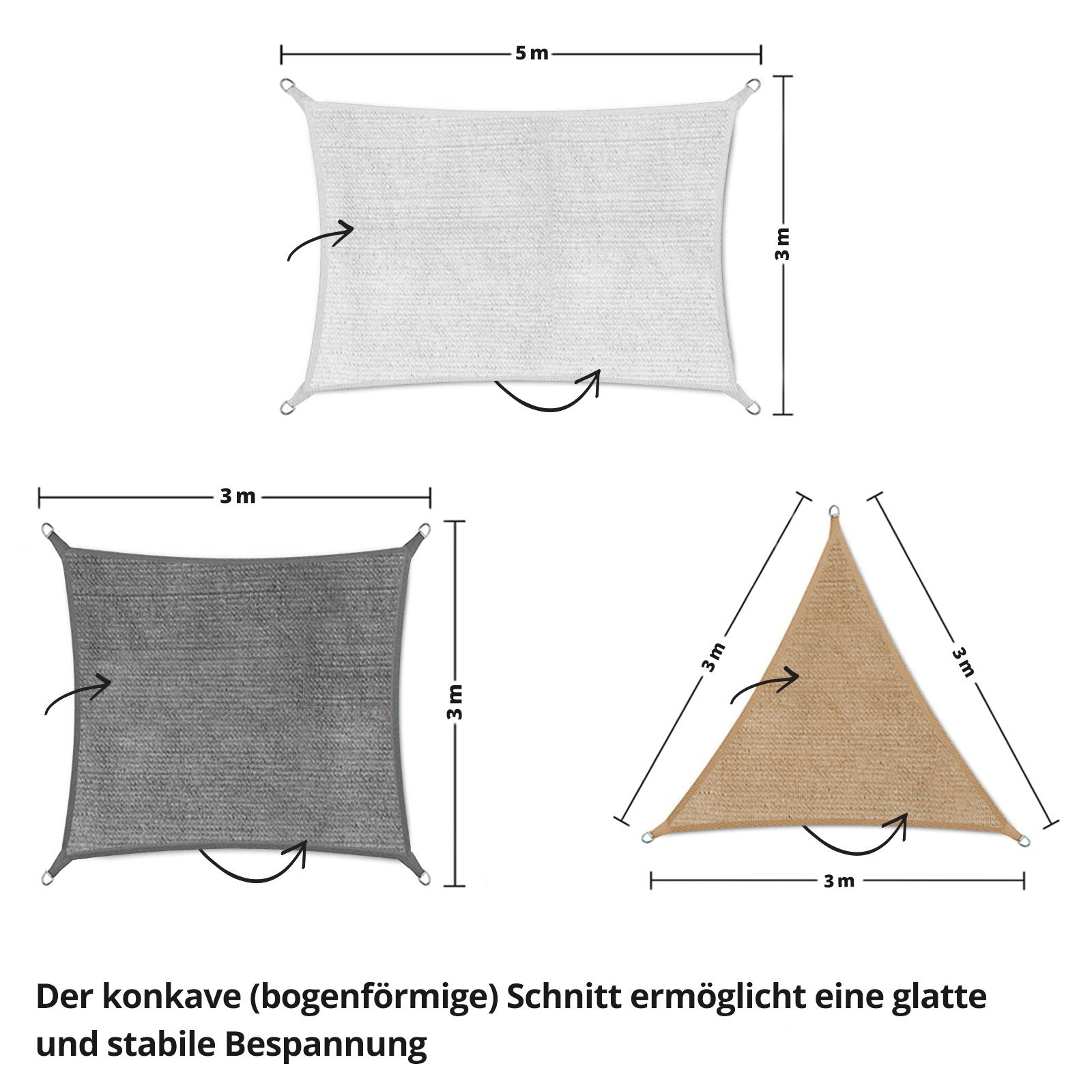 Mammut Sonnensegel   Rechteck, Dreieck oder Quadrat   UV-beständig und luftdurchlässig   Sonnenschutz für Balkon…