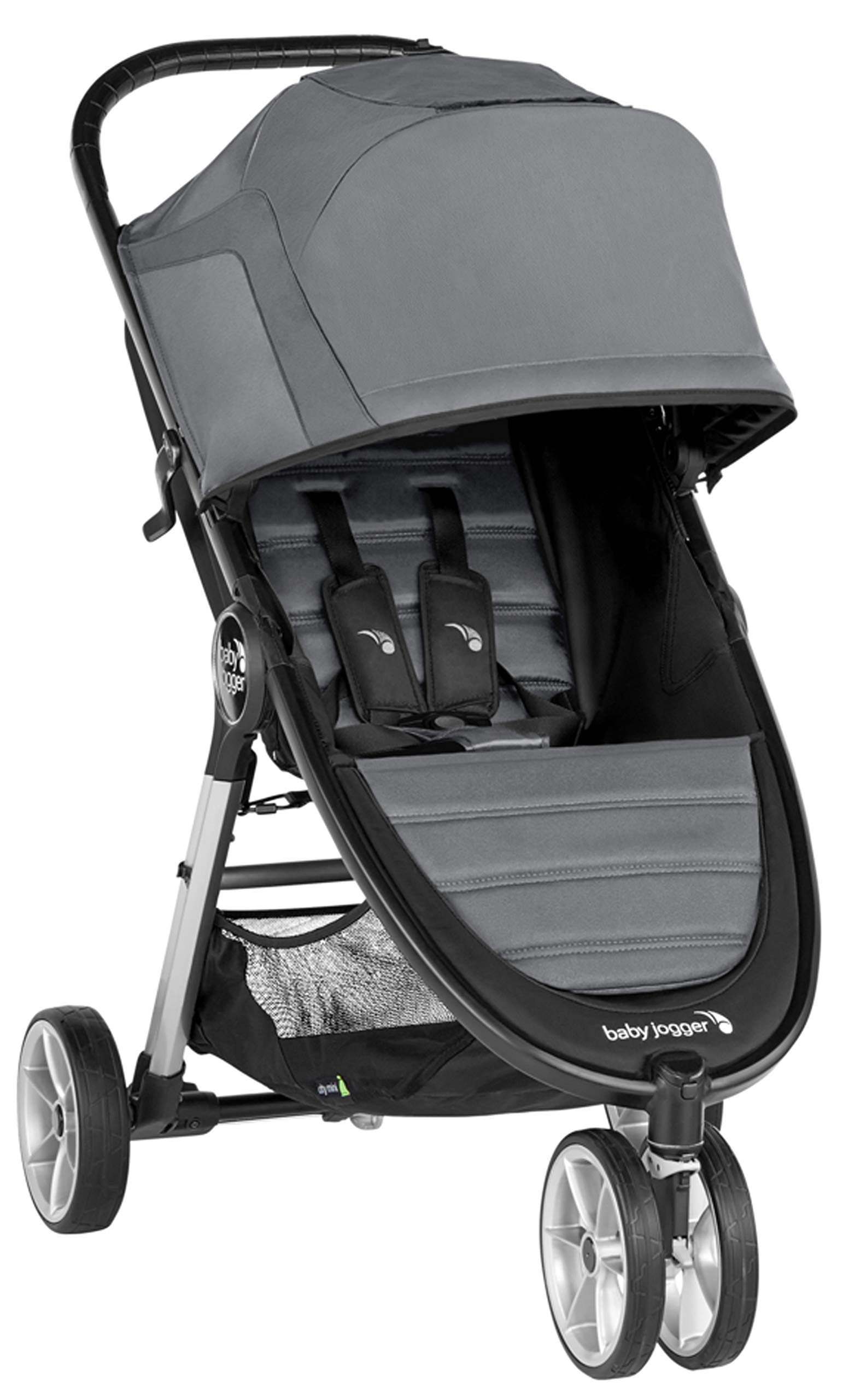 baby jogger City Mini 2 Single Stroller Slate Baby Jogger The baby jogger city mini 2 has an all new lightweight and compact design with the signature one-hand compact fold, with an auto-lock it's remarkably nimble and ready for adventure Lift a strap with one hand and the city mini 2 folds itself: simply and compactly. The auto-lock will lock the fold for transportation or storage The seat, with an adjustable calf support and near-flat recline, holds a child weighing up to 22kg and includes a 5-point stroller harness to keep them comfortable and safely secured 1