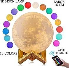 Paperiva Plastic 3D Moon Shaped LED Lunar Lamp (15cm/Large, Multicolour)