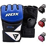 RDX MMA Guanti Maya Cuoio Grappling Guantoni Sparring Sacco Protezione Polso, Sparring Fingerless per Allenamento, Kickboxing