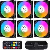 upHere Ventilateur PC 120mm télécommande RGB LED pour Boîtier PC D'ordinateur Ultra Silencieux,Contrôle de Vitesse, Carte Mèr