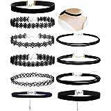 Aibada 10 collana collare nero femminile nero classico velluto elasticizzato tatuaggio gotico colletto in pizzo femmina ragaz