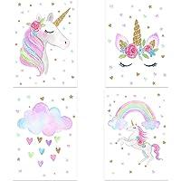 Set 4 Posters de Licorne arc-en-ciel. Décoration murale vibrante et belle de style naturel. 21 x 30 cm. Affiches…