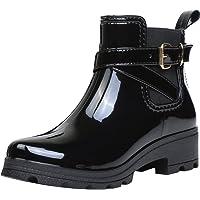 Bottes de Pluie Bottines Cheville Rainboots Bottine de Chelsea Bloc Boots Imperméables Chaussures pour Femme, noir 37