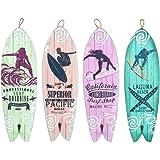CAPRILO. Set de 4 Adornos Pared Decorativos de Madera Perchas Tablas Surf. Percheros. Cuadros y Apliques. Decoración Hogar Ma
