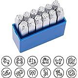 """BENECREAT 12 Horoscoop Ontwerp Metalen Stempels (6mm 1/4"""") Zodiac Dierlijke Metalen Punch Stempels met Tool Case voor Sierade"""