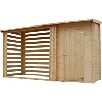 TIMBELA M205 Abri de Jardin+ Chalet pour vélos/Bucher/Abri conteneur - Cabane de Jardin avec Toit Plat - 344 x 130 cm…