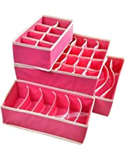 Styleys Drawer Organizer Storage Box Drawer Dividers Innerwear Organizer Wardrobe Organizer for Innerwear, Clothing, Shoes, Underwear, Bra, Socks, Tie, etc (Set of 4)
