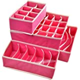 Styleys Set of 4 Foldable Storage Box Drawer Dividers, Non-Smell Innerwear Storage Boxes, Closet Organizers, Under Bed Organi