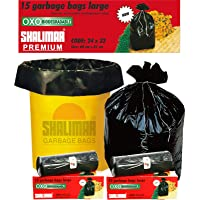 Shalimar Premium OXO - Biodegradable Garbage Bags (Large) Size 60 cm x 81 cm (15 Bags) (Black Colour)