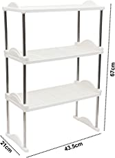 Kurtzy Plastic Rack Shelf Storage Organizer Dismountable for Kitchen Home Bedroom & Bathroom 3 Tiers 67X44X21CM