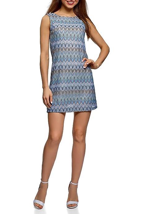 oodji Ultra Mujer Vestido de Punto con Escote Barco, Azul, ES 34 / XXS: Amazon.es: Ropa y accesorios