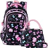Vbiger Girls School Bags Primary Kids Backpack Waterproof Lightweight Backpack Book Bag with Pen Case Lunch Bag (Black)