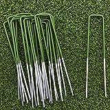 Lawn World Half-Green 50 Pack Artificial Grass Turf U Pins Galvanised Metal Pegs Staples Weed Garden Bevelled