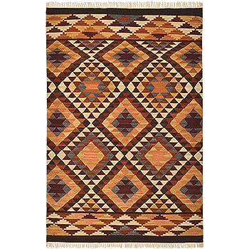 Second Nature Alwar géométrique Laine Kilim Tapis - Marron Rouge ...