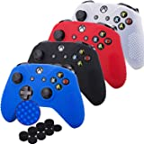 Kono Studded Silicone Cover Skin Case for Microsoft Xbox One X & Xbox One S controller x 4(black+white+red+blue) With Pro thu