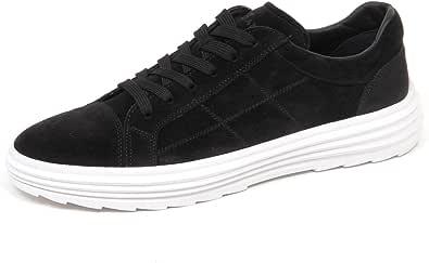 Hogan E4378 Sneaker Basso Uomo Nero H341 Helix Scarpe Suede Shoe Man