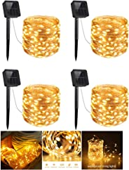 4 Pack Solar String Lights, 200 LED Outdoor Copper Wire Light String Lighting, Waterproof Starry Decoration Lamp for Patio, G