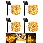 4 Pack Solar String Lights, 200 LED Outdoor Copper Wire Light String Lighting, Waterproof Starry Decoration Lamp for...