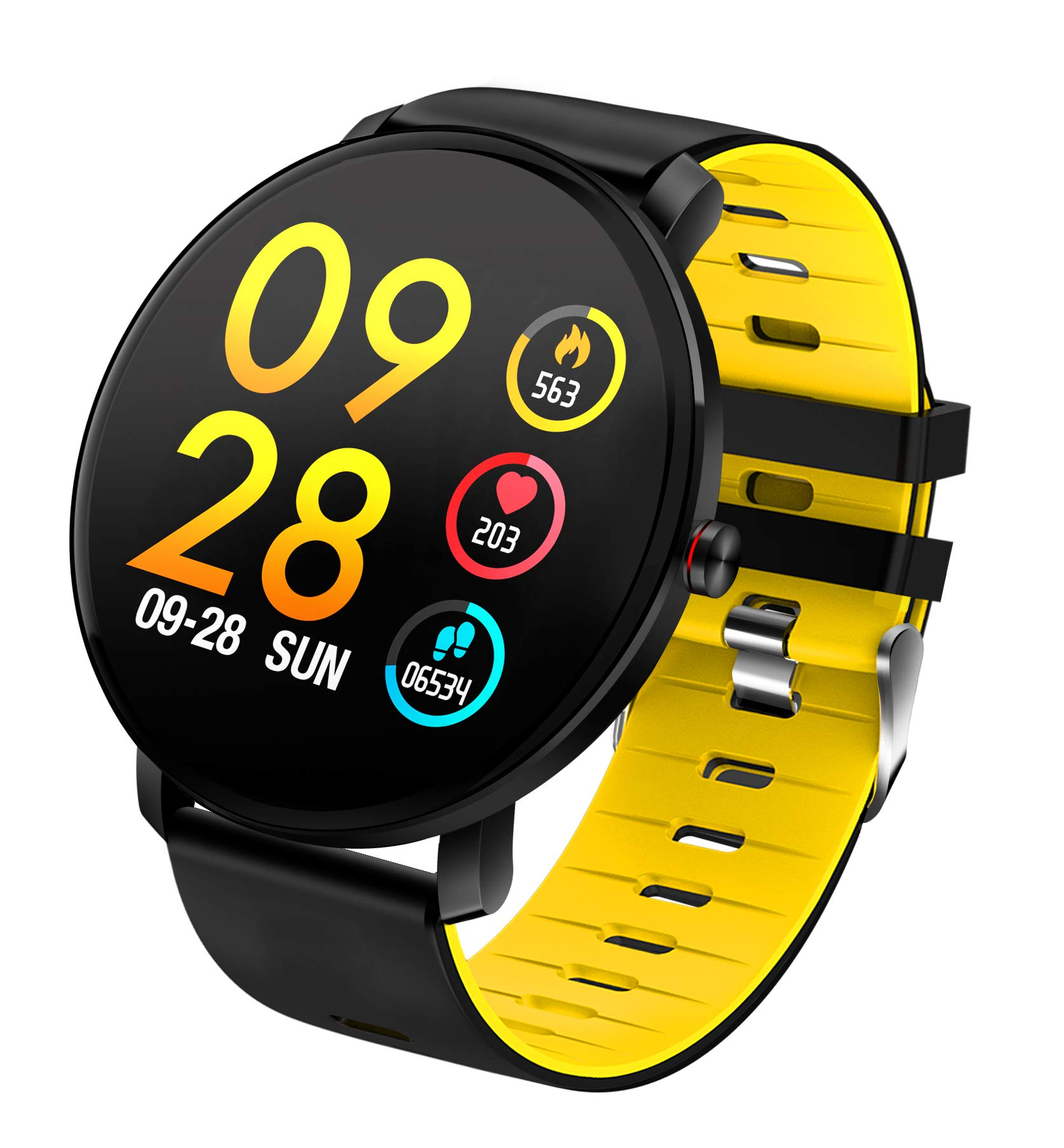 TDOR Smartwatch con Whatsapp Hombre Mujer Reloj Inteligente Android iOS Deportivo, Color Amarillo 1