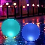 KWODE Éclairage Pour Piscine Flottant LED 40CM,Globe étanche Lampe Flottante IP68,Lampe de Nuit à DEL Changeante de Couleur E
