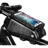 Grefay Fahrrad Rahmentaschen Wasserdicht Farhrradlenkertasche Oberrohrtasche Handytasche Geeignet für Smartphones/Innerhalb mit Kopfhörerloch, TPU Touchschirm von 6 Zoll