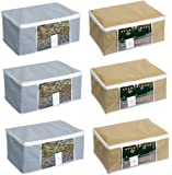 HomeStrap Non-Woven Saree Cover/Cloth Storage/Organiser with Transparent Window(Grey & Beige) - Pack of 6