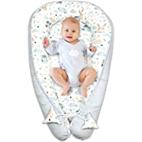 sleep pod for newborn - baby nest sleep pod cotton with oeko-tex certificate (gray - white with owls and rabbits, 90 x 50 cm)