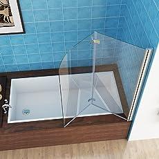 100-120 x 140 cm Badewannen 2 tlg. Faltwand Aufsatz 180° Duschwand Duschabtrennung NANO Glas
