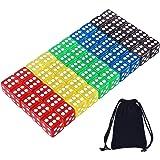 AUSTOR 50 Piezas Dados de 5 Colores Translúcidos (Bolsa Libre) para Juegos de Dados, Tenzi, Farkle, Yahtzee, Bunco o Enseñanz