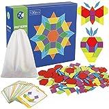 jacootoys 130 PCS Blocs De Puzzle Jouet Montessori Tangram en Bois Scie Sauteuse Éducatif Géométrique Jeu pour Enfants avec 2