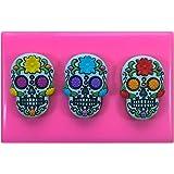 Fairie Blessings - Moule en silicone avec 3petits crânes mexicains en sucre pour décoration de gâteaux
