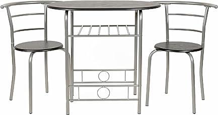 Ts Ideen 3er Set Essgruppe Esstisch 3 Teilig Küchentisch Mit Stühlen Aus  Alugestell +