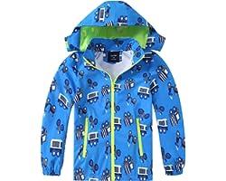 HZXVic Boys Girls Rain Coat,Outdoor Waterproof Jackets with Hood,Dinosaur Kids Raincoat Age 2-7 Years