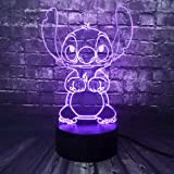 Lampe Lilo & Stitch,Veilleuse de dessin animé 3D Princesse Lampe de chevet de chambre USB Télécommande Multicolore Lampe de b