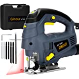 Jigsaw, Ginour Electric Jigsaw 800W 3000SPM, 7 Variable Speed, 6 Blades, Laser Guide, 4 Position Orbital Action, Cutting Angl