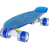 Land Surfer Skateboard Cruiser Retro Completo 56cm con tavola Colorata/Trasparente – Cuscinetti ABEC 7 – Ruote LED Che Si Illuminano 59mm PU + Borsa per Il Trasporto