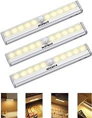 Gluckluz Closet Motion Sensor Light for Bathroom Hallway Stair, 10 LEDs Bulbs Wireless Night lights, Portable Magnetic Securi