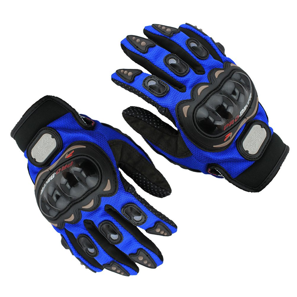 Guanti da moto, sport equitazione protezione dita complete guanti, blue