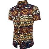 Camisas Hombre Flores 2020 Moda SHOBDW Playa de Verano Impresión Boho Vintage Retro Blusa Slim Fit Tops Shirts Cuello Mao Cam