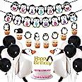 Pingvinpartytillbehör grattis på födelsedagen banderoll promenad pingvin ballonger tårttoppers för födelsedagsfest, baby show