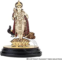 Pleasantino - Car Dashboard/Desktop Statue Religious Hindu Lord Murugan Wood Carved Figurine Size - 3.25""