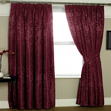Curtains Ideas burgandy curtains : Wine Burgundy Lined Curtains Eton 90x72: Amazon.co.uk: Kitchen & Home