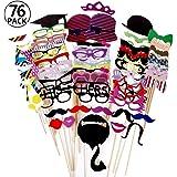 Foonii Requisiten-Set, 76-teilig, für Foto-Automat, Zubehör, mit bunten Brillen, Schnurrbart, Lippen, Fliegen, Hüte, an Stäben, für Hochzeit, Party, für Weihnachten, Geburtstag