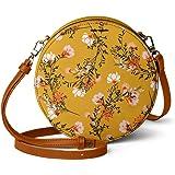 DailyObjects Mustard Flowers Orbis Round Sling Crossbody Bag for girls and women   Vegan leather, Stylish, Sturdy, Zip closur