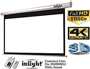 Inlight 120 inches Diagonal, UHD-3D-4K Ready Technology Motorised Projector Screen 4:3 Aspect Ratio, 8 Ft x 6 Ft (White)