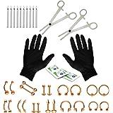 BodyJ4Xou 16g und 14g Körper-Piercing-Set, 35-teilig, Bauch, Zunge, Brustwarze, Lippen, Nase, Ohr, Augenbrauen