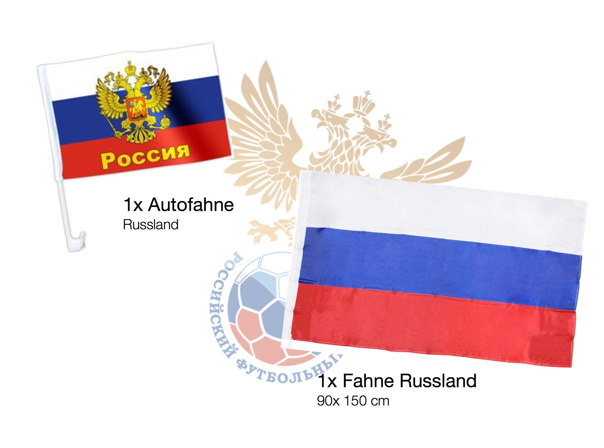 XXL Fanset Russland 1x Russlandfahne Russlandflagge Fahne Flagge 1x Blumenkette blau, weiß, rot, 1x Fantröte Tröte, 1x…